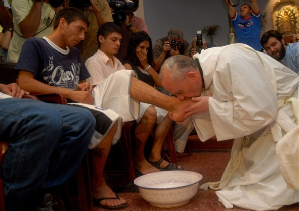 "Cardinal Bergoglio surprised many in 2001 when he washed and kissed the feet of 12 AIDS-related patients at Muñiz Hospital in Buenos Aires, saying ""society forgets the sick and the poor""."