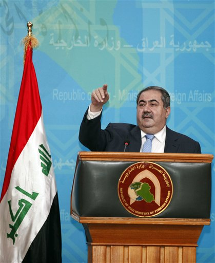 Iraqi Foreign Affairs Minister Hoshyar Zebari speaks at a press conference in Baghdad, Iraq, Thursday, July 5, 2012. Zebari says the government has