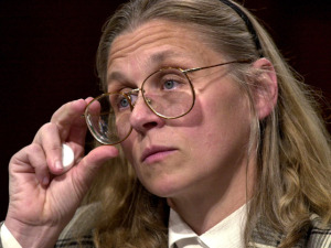 """WASHINGTON, :  Minneapolis-based FBI agent Colleen Rowley testifies in the US Senate Judiciary Committee room 06 June 2002 on Capitol Hill in Washington, DC, during a hearing on the FBI responce to information about the 11 September 2001 terrorist attacks on US soil.  Rowley said that the FBI is an """"ever-growing bureaucracy"""" that stifles individual initiative.  AFP PHOTO/Mike THEILER (Photo credit should read MIKE THEILER/AFP/Getty Images) Rowley worked at the FBI for nearly 24 years before becoming a whistleblower."""