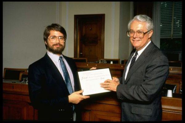 Michael Cavallo (R) presenting his foundation's 1988 Cavallo Prize for Moral Courage in Business & Govt. to Ernest Fitzgerald, whistleblower