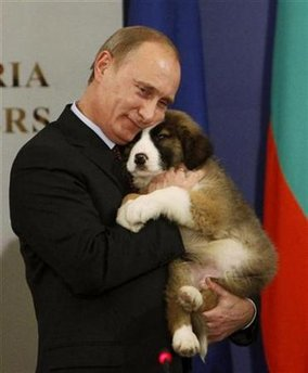 Russia's Prime Minister Vladimir Putin hugs a Bulgarian shepherd dog, after receiving it as a present from Bulgaria's Prime Minister Boiko Borisov (not seen) in Sofia, November 13, 2010.   REUTERS/Oleg Popov