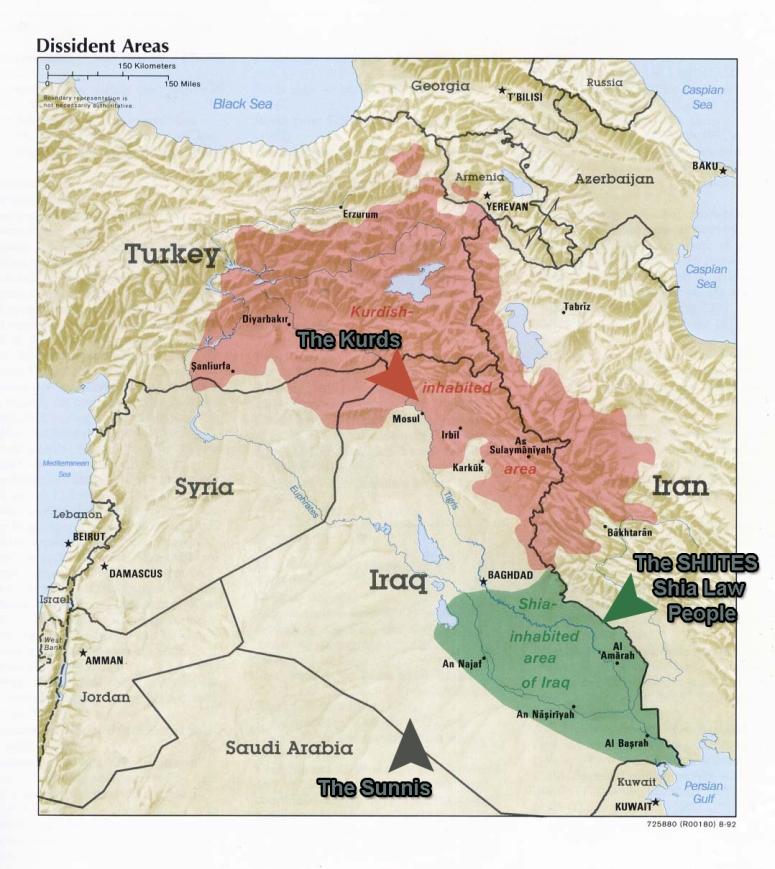 Iraq Denomination:  Sunnis - 60% Shiite - 38% Christian - 2%