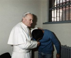 Mehmet Ali Agca, a Muslim was forgiven by Pope John Paul II at a meeting in his prison cell just after Christmas 1983.