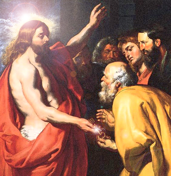 Jesus The Christ Entrusting The Keys Of The Kingdom Of Heaven To Saint Peter The First Pope.