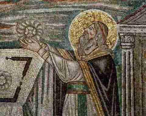 "Melchizedek. Mosaic of ""San Vitale"" in Ravenna."