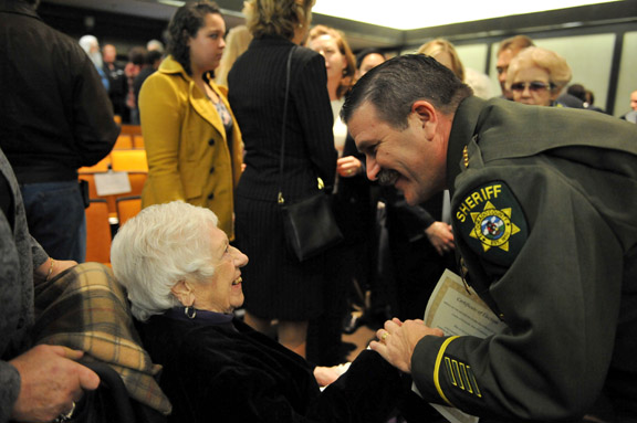 U.S. California Sheriff John D'Agostini with his grandmother Adele Monday at the swearing in ceremony.