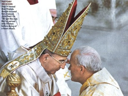 Soon To Be Pope John Paul II Pledges Obedience To Pope John Paul I.