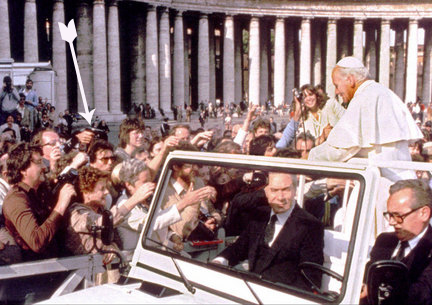 Pope John Paul II about to be shot by Mehmet Ali Agca in 1981.