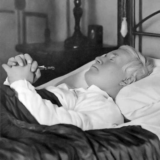 Pope Pius X died in the early hours of August 20, 1914. His last act was to kiss the crucifix he is shown holding. In the sleep of death his countenance was peaceful and almost seemed youthful again.
