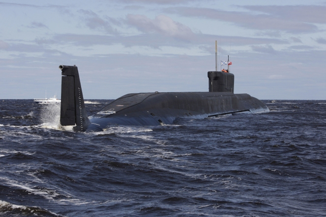 A new Russian nuclear submarine, the Yuri Dolgoruky, drives in the water area of the Sevmash factory in the northern city of Arkhangelsk on July 2, 2009. (ALEXANDER ZEMLIANICHENKO/AFP/Getty Images)