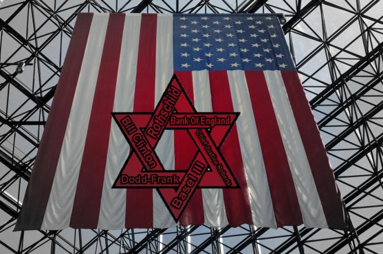 Flag Red Shield rothschild zionism keynesian clinton