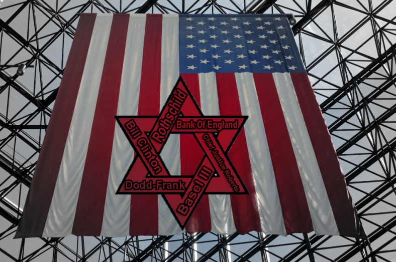 Flag Red Shield rothschild zionism keynesian clinton