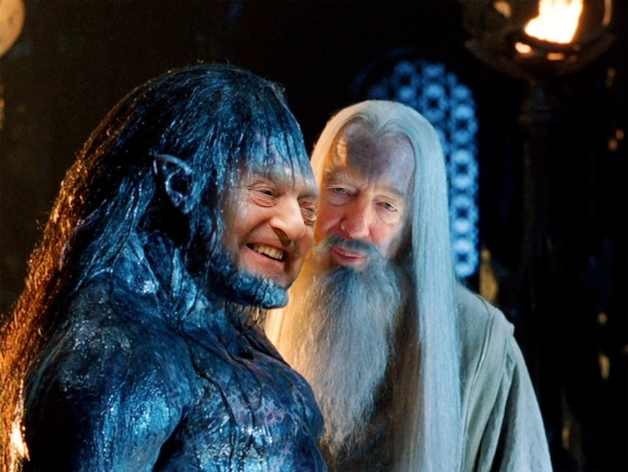 George Soros As The Fighting Uruk-hai With Jacob Rothschild As Saruman