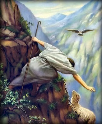 The Good Shepherd on the cliff