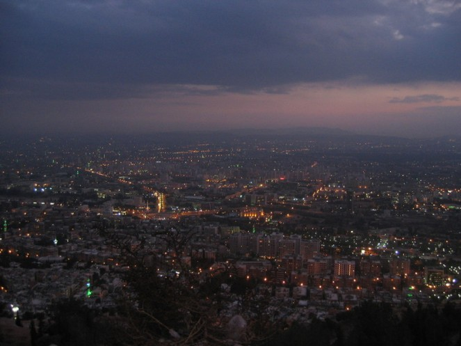 Syria Damascus Mountain city view