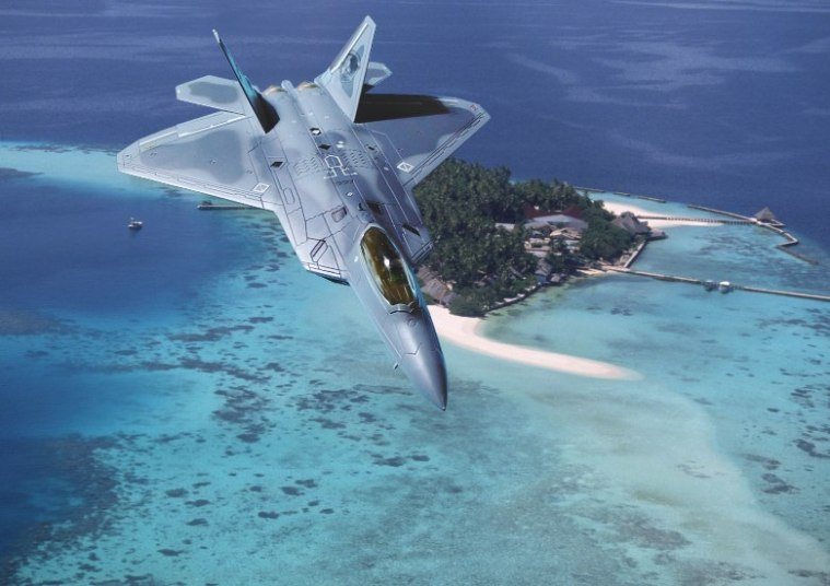 F-22 Raptor Over Southern Ocean.