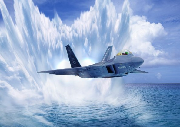 F-22 Raptor Riding The Waves.