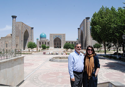 Assistant Secretary Boucher and his Senior Advisor Caitlin Hayden pose at the Registan in Uzbekistan