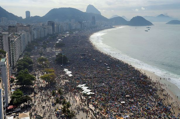 Pope Francis: Antitrust Money Hoarding ~ Urged The Unemployed To Fight For Work.  Hundreds-of-thousands-of-people-crowd-copacabana-beach-in-rio-de-janeiro-waiting-for-the-arrival-of-pope-francis-2100133