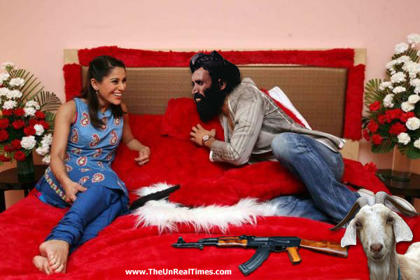 Mullah Omar and his goat Abu Hussain - on the couch with Koel