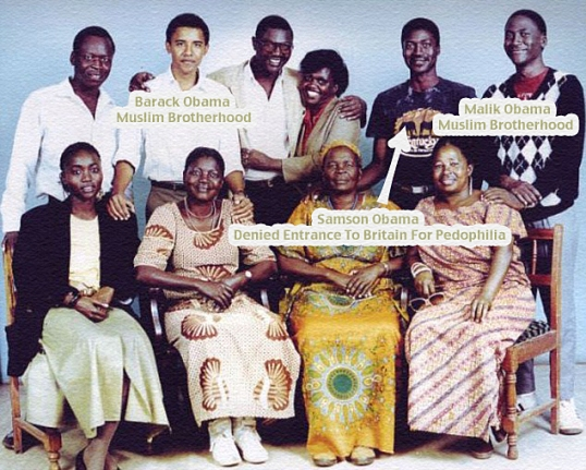 Barack Obama Jr on his first visit to Kenya in 1987 (Back row L-R): Said Hussein Obama (brother of Obama sr), Barack Obama Jr, Malik Obama (son of Kezia), unknown woman, Nyandega (son of Kezia), Otieno (son of Malik) (Seated L-R): Auma (daughter of Kezia), Kezia (first wife of Obama), Mama Sarah (step-mother to Obama Sr), Sylpha (sister of Kezia) Robert Crilly collect