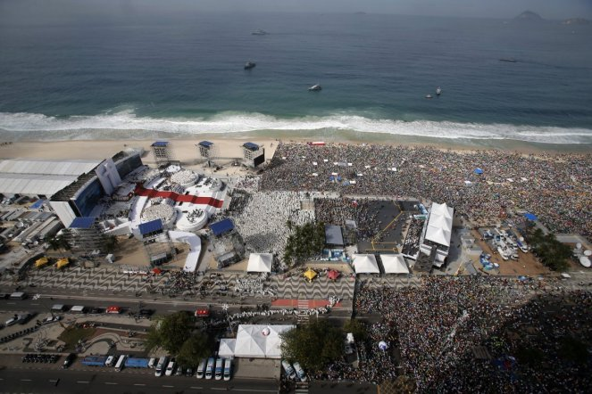 Three million people gather on Rio beach for mass with Pope Francis. July 2013
