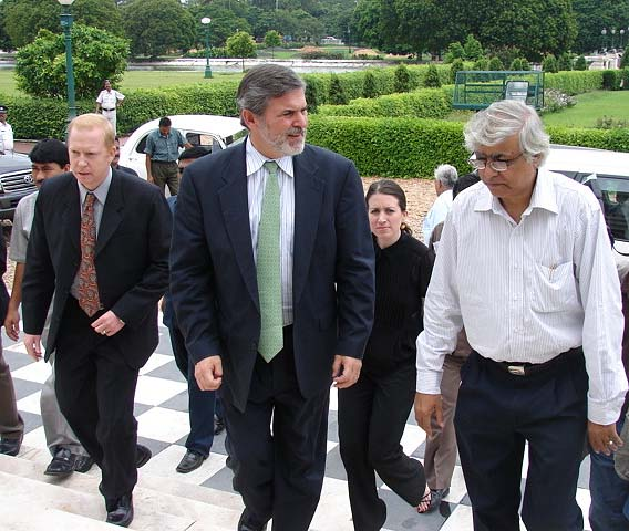 Assistant Secretary of State for South and Central Asian Affairs Ambassador Richard Boucher being escorted to the Victoria Memorial in Calcutta by Curator  Chittaranjan Panda (right) on August 4, 2006. He is accompanied by Consul General Henry V. Jardine (left) and Senior Advisor Caitlin Hayden (seen in the back).