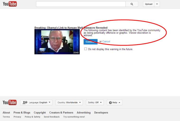 Youtube Warning Obama