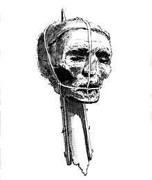 A drawing of Oliver Cromwell's head on a spike from the late 18th century