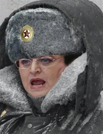 Rothschild's Soviet Evie Hudak huddles up against the cold.