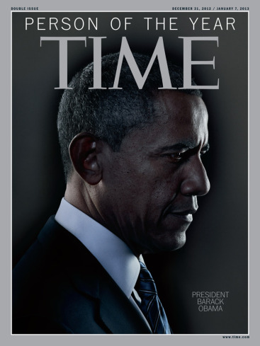 """Shrouded in gloom, this """"Person of the Year"""" cover seems inappropriate for a man who has just won a resounding re-election victory.  Something Evil This Way Comes!"""