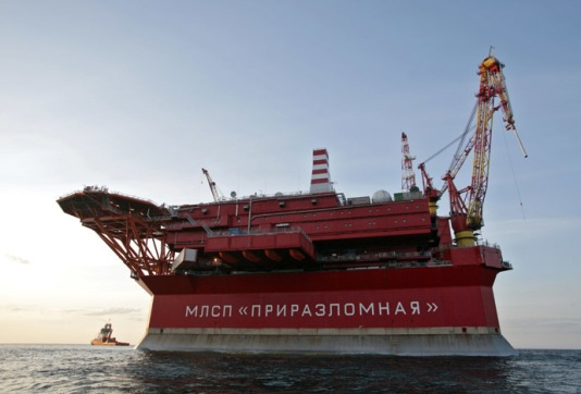 2287877 08/25/2012 The Prirazlomnaya oil rig in the Barents Sea (archive photo of 25.08.2012). The frontier guard of Federal Security Service have detained Greenpeace activists near Gazprom's oil rig. The Russian border guards escort the Arctic Sunrise ship to a port in Murmansk. Igor Podgornyi/RIA Novosti
