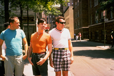 Unidentified, Tom O'Horgan, and Harvey Milk, New York, NY, July 1965, photo by Galen McKinley