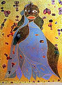 """Chris Ofili's The Holy Virgin Mary 1996. Chris Ofili's """"The Holy Virgin Mary,"""" a controversial painting of the Virgin Mary embellished with a clump of elephant dung and two dozen cutouts of buttocks from pornographic magazines, is shown at the Brooklyn Museum of Art Monday, Sept. 27, 1999, in New York, as part of the """"Sensation: Young British Artists From the Saatchi Collection,"""" exhibit scheduled to open Saturday, Oct. 2. New York City Mayor Rudolph Giuliani pledges to cut all $7 million of city funding to the museum, one-third of its budget, unless the painting is pulled from the exhibit while Giuliani's possible U.S. Senate opponent first lady Hillary Rodham Clinton says she doesn't like the idea of a portrait of the Virgin Mary embellished with elephant dung, but believes the museum has a right to show it. (AP Photo/Diane Bondareff)"""