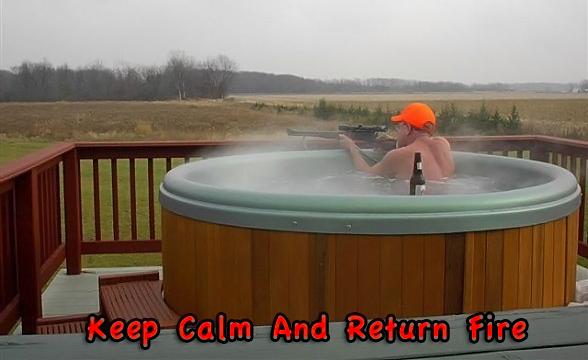 Gun keep calm return fire