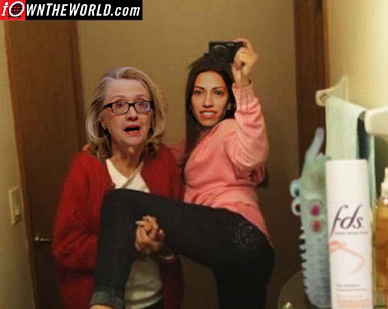 Hillary & Lesbian Playmate Huma Abedin aka; Muslim Brotherhood affiliation.