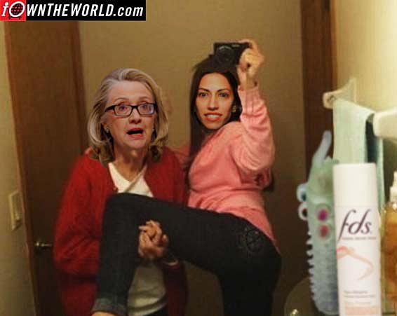 Hillary & Lesbian Playmate Huma Abedin aka; Muslim Brotherhood affiliation.