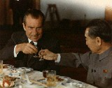 President Nixon toasting Chinese Premier Chou En-lai, instead of protecting the gold standard.