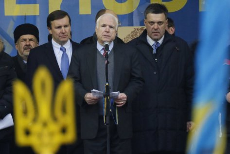 John McCain Went To Ukraine And Stood On Stage With A Man Being An E.U. Neo-Nazi.
