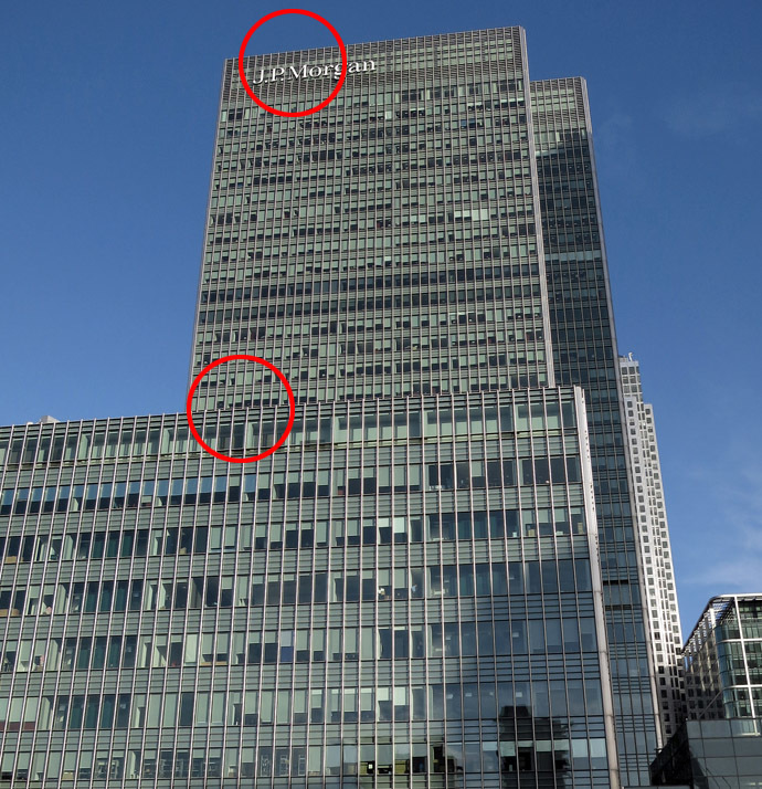 The offices of JP Morgan in the Canary Wharf district of London, January 28, 2014. Police said they are investigating the