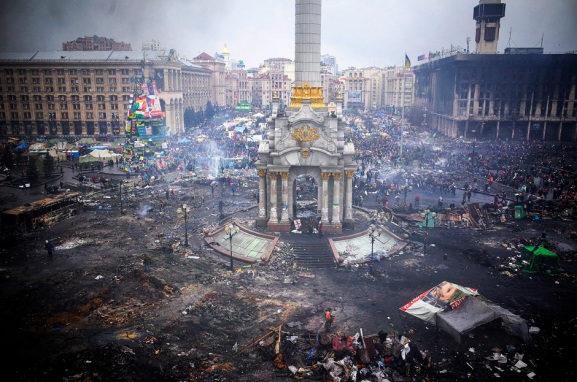 Kiev, Ukraine's Overthrow By Nazi European Union Thugs. February 20, 2014