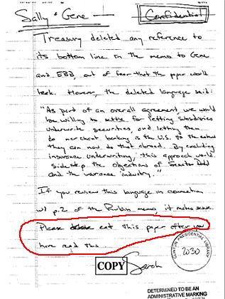Clinton 1999 memo