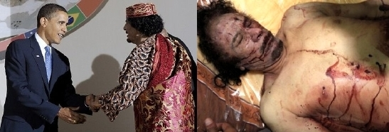 Iraq's Saddam Hussein was murdered because he decoupled from the Kissinger petrodollar. Here, Libya's Moammar Gadhafi was murdered because he decoupled from the Kissinger petrodollar. They want Syria, NWO lost in Egypt. Muslim Brotherhood has now infiltrated Turkey & Jordan since being removed from Egypt.