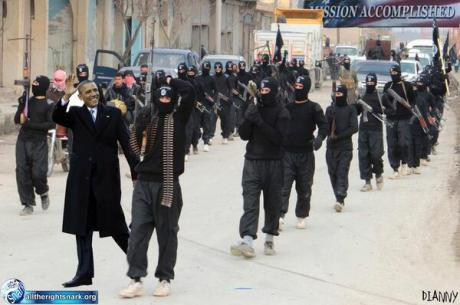 Obama & The NWO Black Flag Of Jihad. Here He Is With The NWO Monikered ISIS.