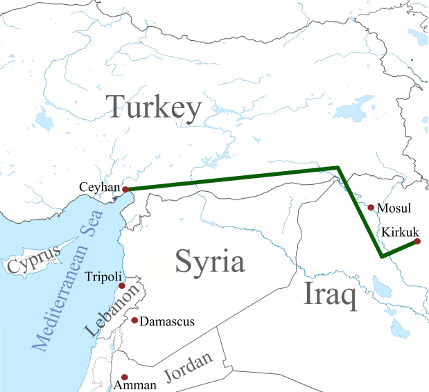 Iraqi Government Signs $1 Billion Military Agreement With Russian Government: Providing Heavy Artillery, Ballistic Missile Systems And Ammunition. Kirkuke28093ceyhan_oil_pipeline-svg