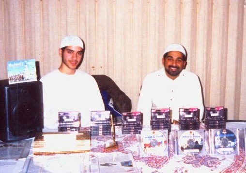 Mohamed Sabur (r) selling Islamic materials circa 2002.