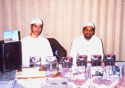 Mohamed Sabur (r) selling Islamic materials circa 2002.