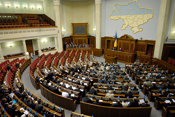 Kiev, Ukraine Parliament. Puppet President Petro Poroshenko dissolved the Parliament for nazi dictatorship.