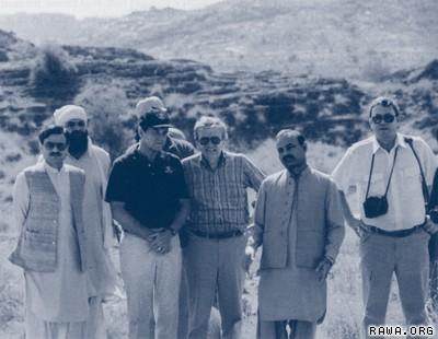 Front row, from left: Major Gen. Hamid Gul, director general of Pakistan's Inter-Services Intelligence Directorate (ISI), Director of Central Intelligence Agency (CIA) Willian Webster; Deputy Director for Operations Clair George; an ISI colonel; and senior CIA official, Milt Bearden at a Mujahideen training camp in North-West Frontier Province of Pakistan in 1987. (source RAWA)