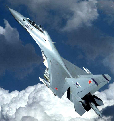 The Sukhoi Su-30M multi-role two-seater fighter.